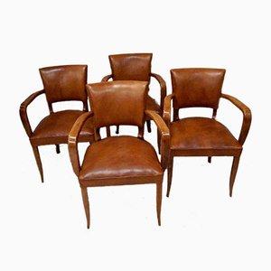 Art Deco Beech Bridge Chairs, 1920s, Set of 4