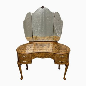 Queen Anne Burr Walnut Kidney Shaped Dressing Table