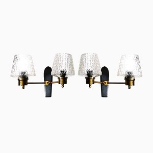 French Sconces in Brass and Half Crystal, 1961, Set of 2