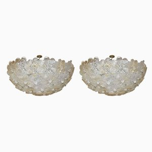 Lámparas de techo Mid-Century de cristal de Murano de Barovier & Toso, años 60. Juego de 2