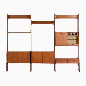 Scandinavian Three-Bay Wall Unit with Bar Cabinet by John Texmon for Blindheim Møbelfabrik, 1960s