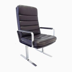 Economy Black Leather Lounge Chair by Bernd Münzebrock for Walter Knoll / Wilhelm Knoll, 1970s