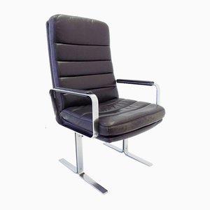 Economy Black Leather Lounge Chair von Bernd Münzebrock für Walter Knoll / Wilhelm Knoll, 1970er Jahre