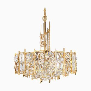 Gilt Brass and Crystal Chandelier from Palwa, Germany, 1970s