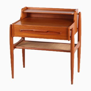Danish Teak Side Table With Drawer and Rattan Shelf