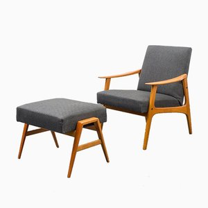 Easy Chair and Ottoman, 1960s, Set of 2