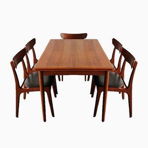 Chaises et Table de Salle à Manger par Schiønning & Elgaard pour Randers Møbelfabrik, 1960s, Set de 6