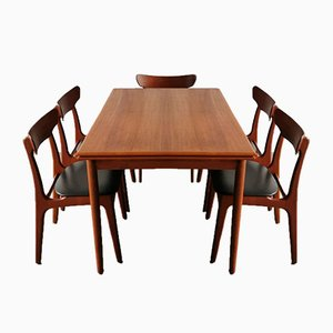 Dining Chairs and Table by Schiønning & Elgaard for Randers Møbelfabrik, 1960s, Set of 6