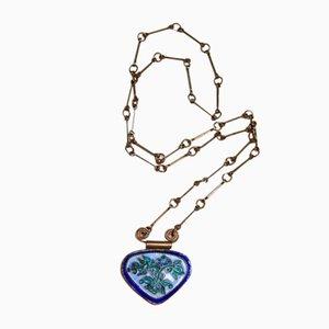 Vintage Filigrane cloisonnée collier pendentif avec collier