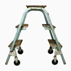 Industrial Rolling Step Ladder, 1950s