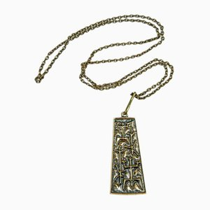 Mid-Century Copper Necklace and Pendant with Archaic Motif by Laszlo Domotor, 1970s