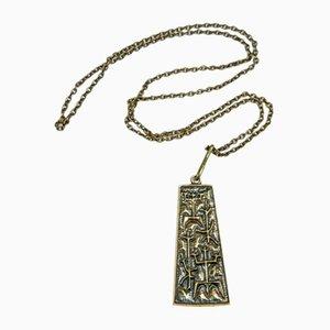Mid-Century Kupfer Halskette und Hängelampe mit archaischem Motiv von Laszlo Domotor, 1970er