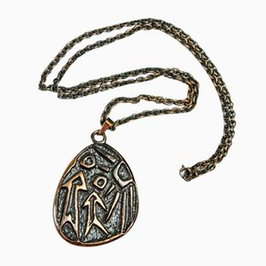 Mid-Century Copper Necklace and Pendant with Archaic Motif, 1970s
