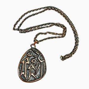 Mid-Century Kupfer Halskette und Hängelampe mit archaischem Motiv, 1970er