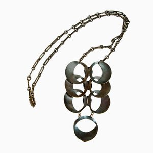 Mid-Century Handcrafted Bronze Necklace with Pendant, 1970s