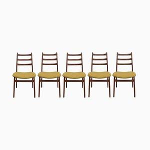 Chaises en Teck Jaune Moutarde, 1960s, Set de 5