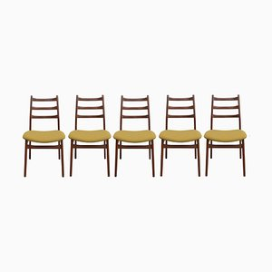 Mustard Yellow Teak Chairs, 1960s, Set of 5