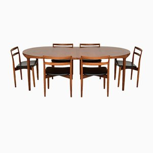 Vintage Danish Teak Dining Table & Chairs Set by Harry Østergaard for Randers Møbelfabrik, 1960s, Set of 7