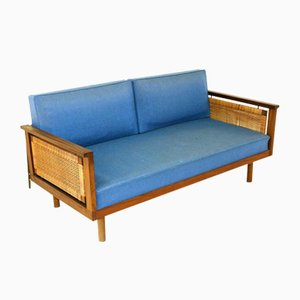 Danish Teak and Rattan Sofa, 1960s
