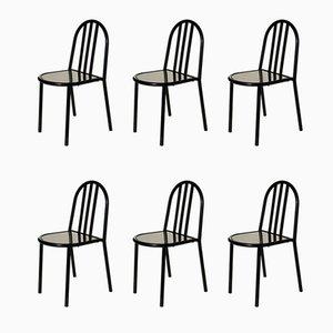 Schwarze 222 Nr. 222 Esszimmerstühle von Robert Mallet-Stevens, 1960er, 6er Set
