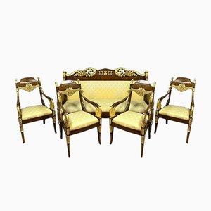 Empire Set mit Stühlen und Bank, 1800er, 5er Set