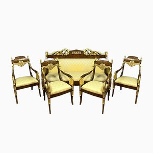 Empire Set with Chairs and Bench, 1800s, Set of 5