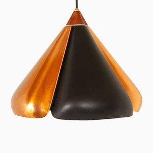 Lampe à Suspension en Cuivre et Noir, Danemark, 1960s