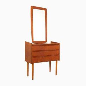 Miroir et Coiffeuse Vintage en Teck, Danemark, 1960s, Set de 2