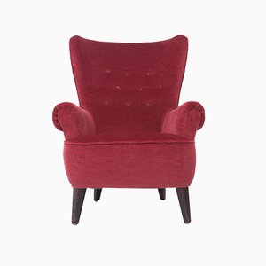 Red Velvet Lounge Chair von Theo Ruth für Artifort, 1950er Jahre