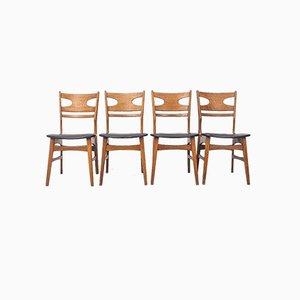 Teak Esszimmerstühle, 1960er Jahre, 4er-Set