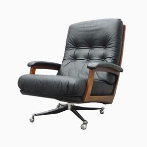 Rotatable Leather Lounge Chair, 1960s