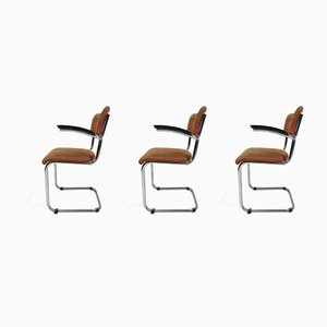 VIntage Dutch Industrial Steel Tube Desk Chairs by Willem Hendrik Gispen, 1950s, Set of 3