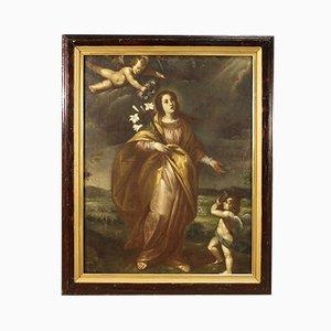 Ancienne Peinture Religieuse Italienne, Saint Liberata Aux Angelots, XVIIe Siècle, Huile Sur Toile