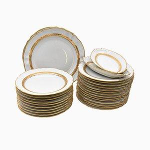 Vaisselle Vintage en Porcelaine Dorée et Blanche de Porcelainerie de la Haute Vienne, Set de 28