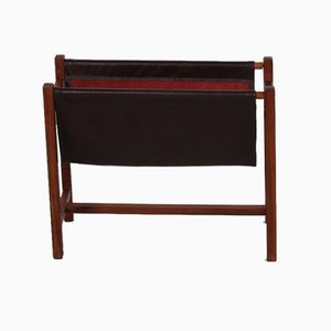Magazine Rack In Rosewood and Leather, 1960s