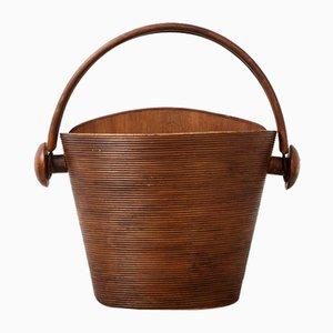 Wicker and Wood Storage Basket by Pieter van Gelder for Atelier Pieter van Gelder