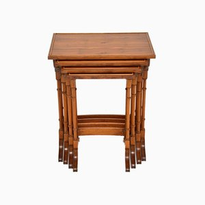 Yew Wood Nesting Tables, 1950s, Set of 4