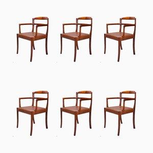 Chaises de Salle à Manger en Cuir et Palissandre par Ole Wanscher pour Cado, 1960s, Set de 6