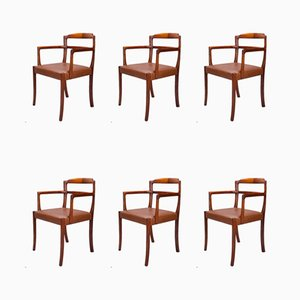 Esszimmerstühle aus Leder und Rosenholz von Ole Wanscher für Cado, 1960er Jahre, 6er-Set