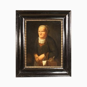 Antique Flemish Painting, Portrait of A Woman, 17th Century, Oil on Canvas