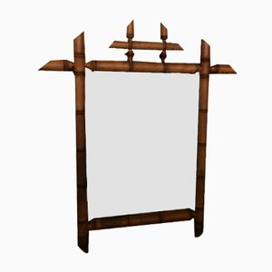 Antiker Spiegel in Bambus Optik
