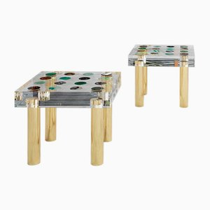 Italian Plexiglass and Brass Side Table from Superego