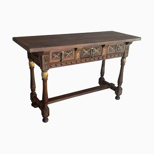 Early 19th Century Spanish Carved Walnut Catalan Console Table