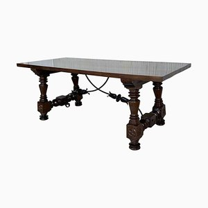 Spanish Refectory, Dining or Desk Table with Lyre Legs and Iron Stretcher