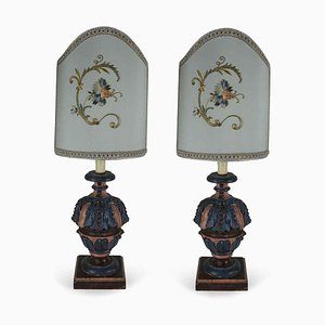 Table Lamps with Embroidery from Bartolozzi e Maioli, 1970s, Set of 2