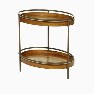 Mesa de centro italiana de latón y madera, años 50