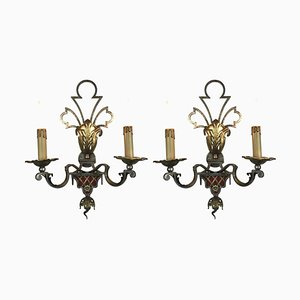 Iron, Silver and Golden Sconces from Banci, 1980s, Set of 2