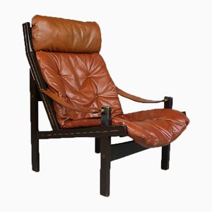 Brown Leather Lounge Chair von Torbjørn Afdal für Bruksbo, 1960