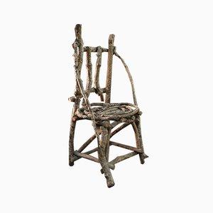 Brutalistischer Naturholz Beistellstuhl, 1930er