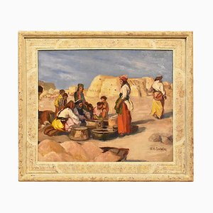 Paesaggio, olio su carta, XX secolo